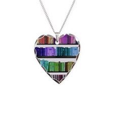 Rainbow bookshelf Necklace Heart Charm