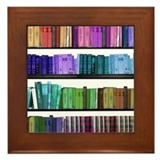 Rainbow bookshelf Framed Tile