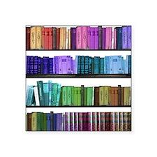 "Rainbow bookshelf Square Sticker 3"" x 3"""