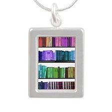 Rainbow bookshelf Silver Portrait Necklace
