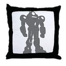 Grey Robot Throw Pillow