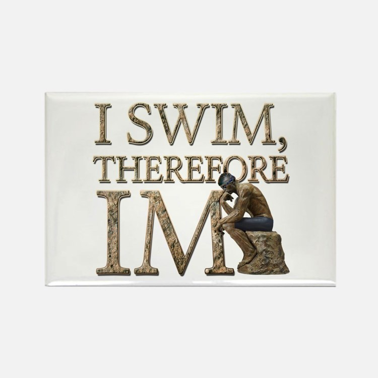 I Swim Therefore IM Rectangle Magnet