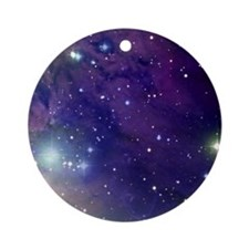 Space sky with bright stars Round Ornament