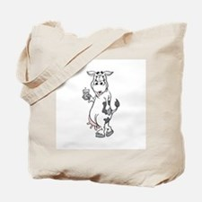Silly Cow Drinking Milk Tote Bag