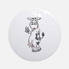 Silly Cow Drinking Milk Ornament (Round)