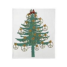 Peace Holiday Tree Throw Blanket