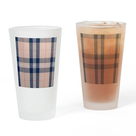 Beige tartan Drinking Glass