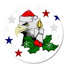 Merry Christmas Eagle Round Car Magnet