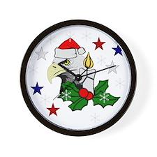 Merry Christmas Eagle Wall Clock