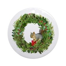 Squirrel Wreath Candle Ornament (Round)