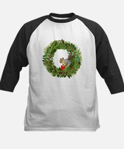 Squirrel Wreath Candle Kids Baseball Jersey