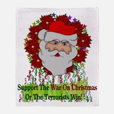 War On Christmas Santa Throw Blanket