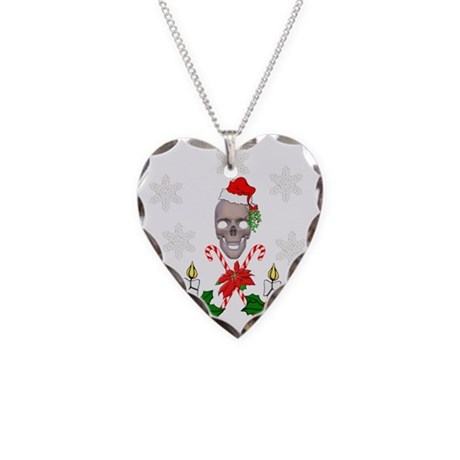 Happy Holidays Christmas Skul Necklace Heart Charm