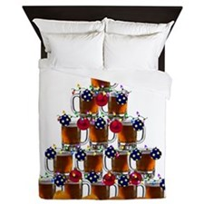 Beer and Burger Holiday Tree Queen Duvet