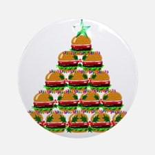 Hamburger Christmas Tree Round Ornament