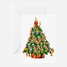 Tree Of Flaming Skulls Greeting Card