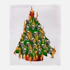 Tree Of Flaming Skulls Throw Blanket