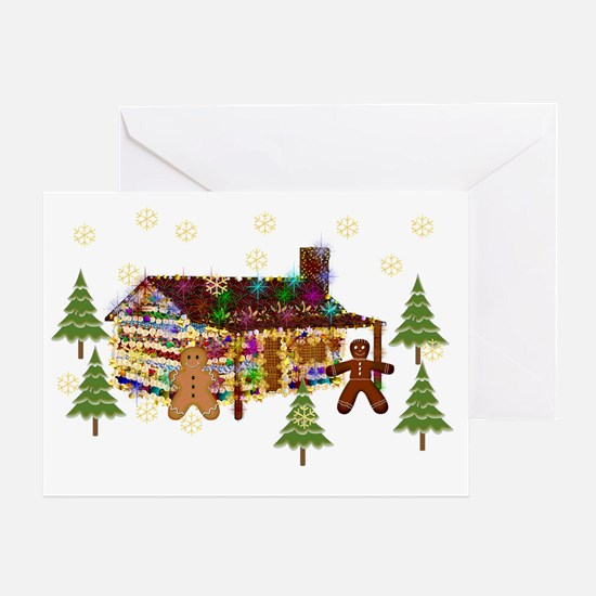 Gingerbread Sparkly Cabin Greeting Card