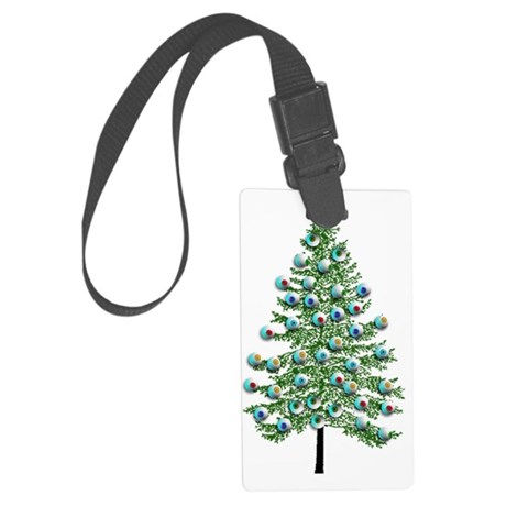 Eyeball Christmas Tree Large Luggage Tag
