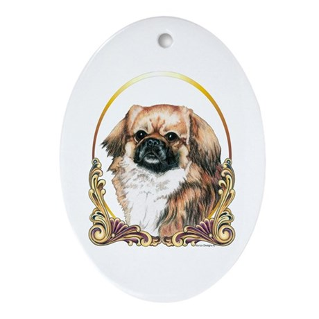 Tibetan Spaniel Holiday Oval Ornament