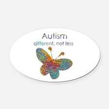 Autism: different, not less Oval Car Magnet