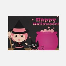 Cute Witch and Black Cat, Happy H Rectangle Magnet