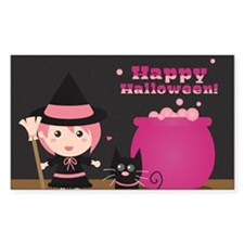 Cute Witch and Black Cat, Happ Decal