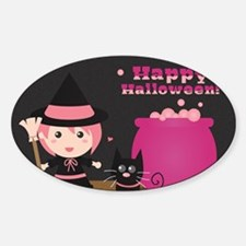 Cute Witch and Black Cat, Happy Hal Sticker (Oval)
