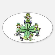 Leprechauns Hanging Out Oval Decal