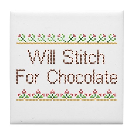 Will Stitch for Chocolate Tile Coaster