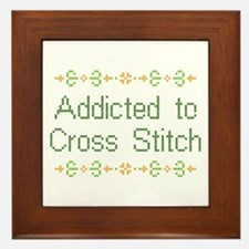 Addicted to Cross Stitch Framed Tile