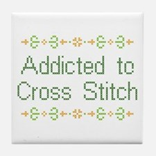 Addicted to Cross Stitch Tile Coaster