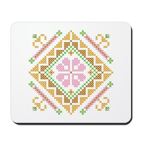 Floral Diamond Cross Stitch Mousepad