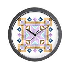 Floral Square Cross Stitch Wall Clock