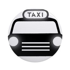 Cartoon Taxi Cab Ornament (Round)