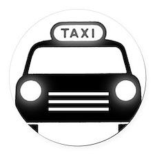Cartoon Taxi Cab Round Car Magnet
