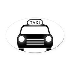 Cartoon Taxi Cab Oval Car Magnet