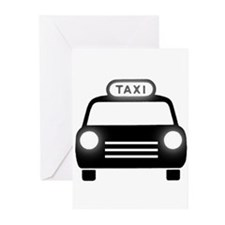 Cartoon Taxi Cab Greeting Cards (Pk of 20)