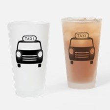 Cartoon Taxi Cab Drinking Glass