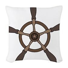Vintage Ship Wheel Woven Throw Pillow