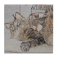 Cute Maine Coon cat Tile Coaster