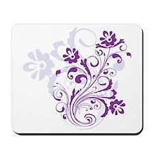 pretty modern purple swirl floral Mousepad