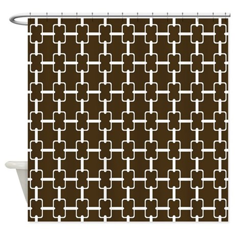 Brown And White Rectangle Links Shower Curtain
