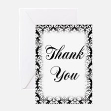 Black & White Damask #1 Thank You Greeting Card