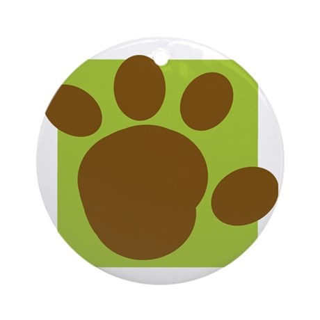 brown paw print Round Ornament