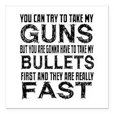 "Fast Bullets Square Car Magnet 3"" x 3"""
