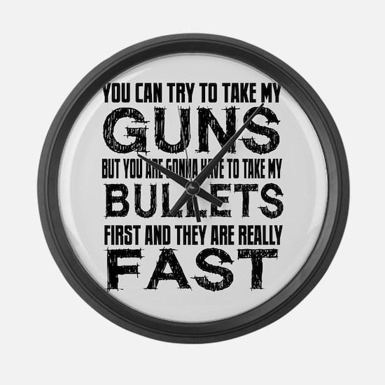 Fast Bullets Large Wall Clock