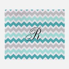 Teal Grey Chevron Monogram Throw Blanket