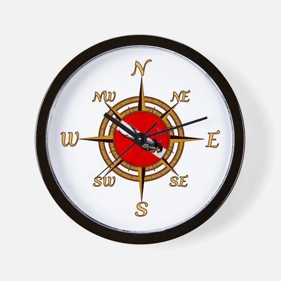 Dive Compass Woman Wall Clock