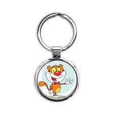 cute cartoon waving tiger Round Keychain